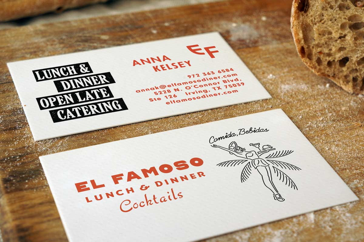 Uncoated business cards jukebox print el famoso business cards produced on 18pt textured white stock colourmoves