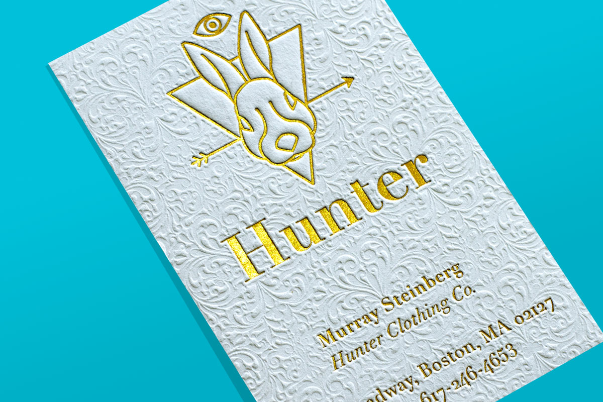 Business cards flyers hang tag printing more jukebox hunter gold foil embossed business card reheart Gallery