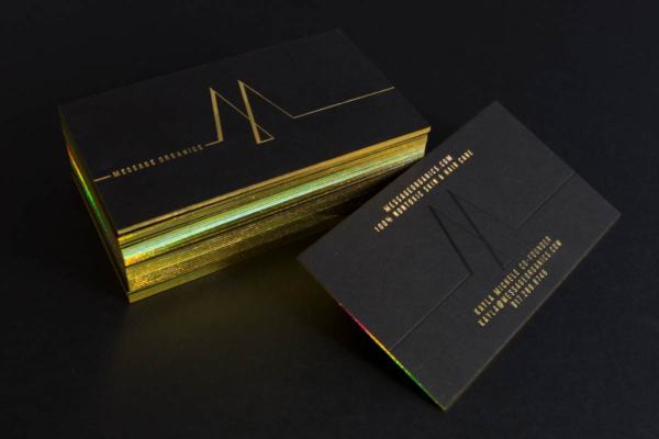 Colored edge business cards jukebox print holographic foil business cards with black and gold foil reheart Gallery