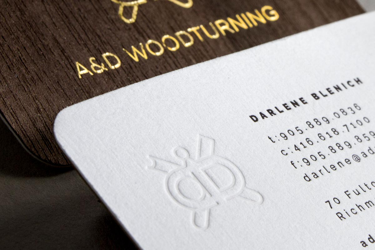 Gold business custom business cards jukebox w1s wooden cards with debossing and letterpress colourmoves