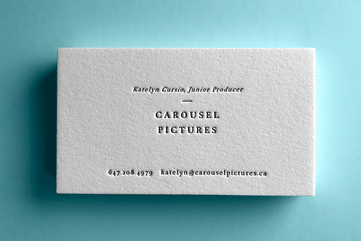 Cotton business cards jukebox print carousel one color letterpress business cards with deep impression reheart Gallery