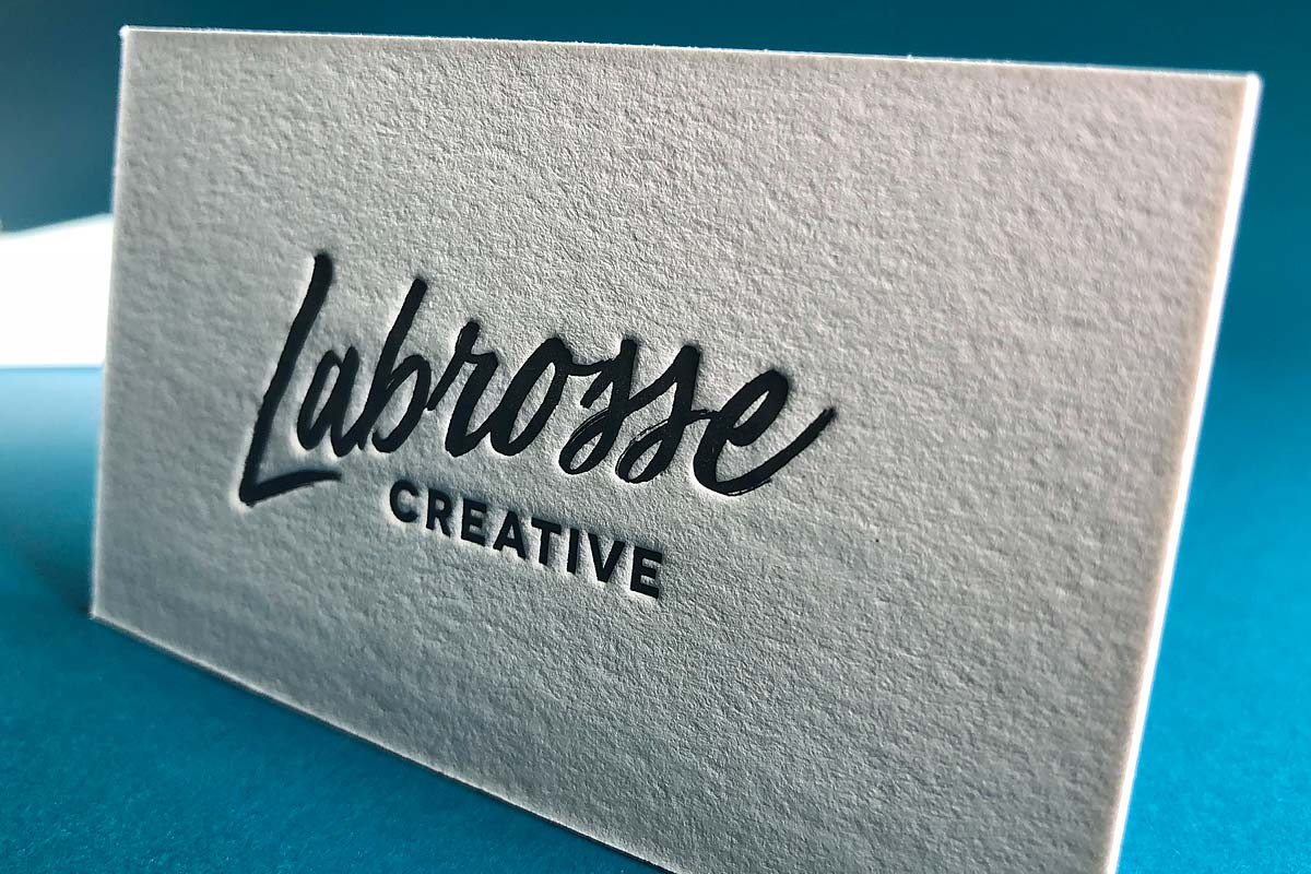 Letterpress business cards with embossing and foil labroose creative business cards with a deep impression colourmoves Image collections