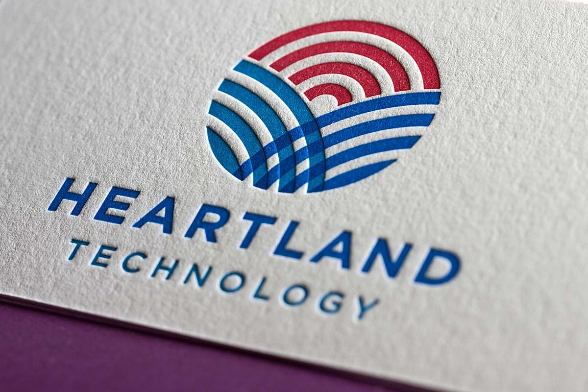 Letterpress business cards with embossing and foil heartland 3 color letterpress business cards colourmoves