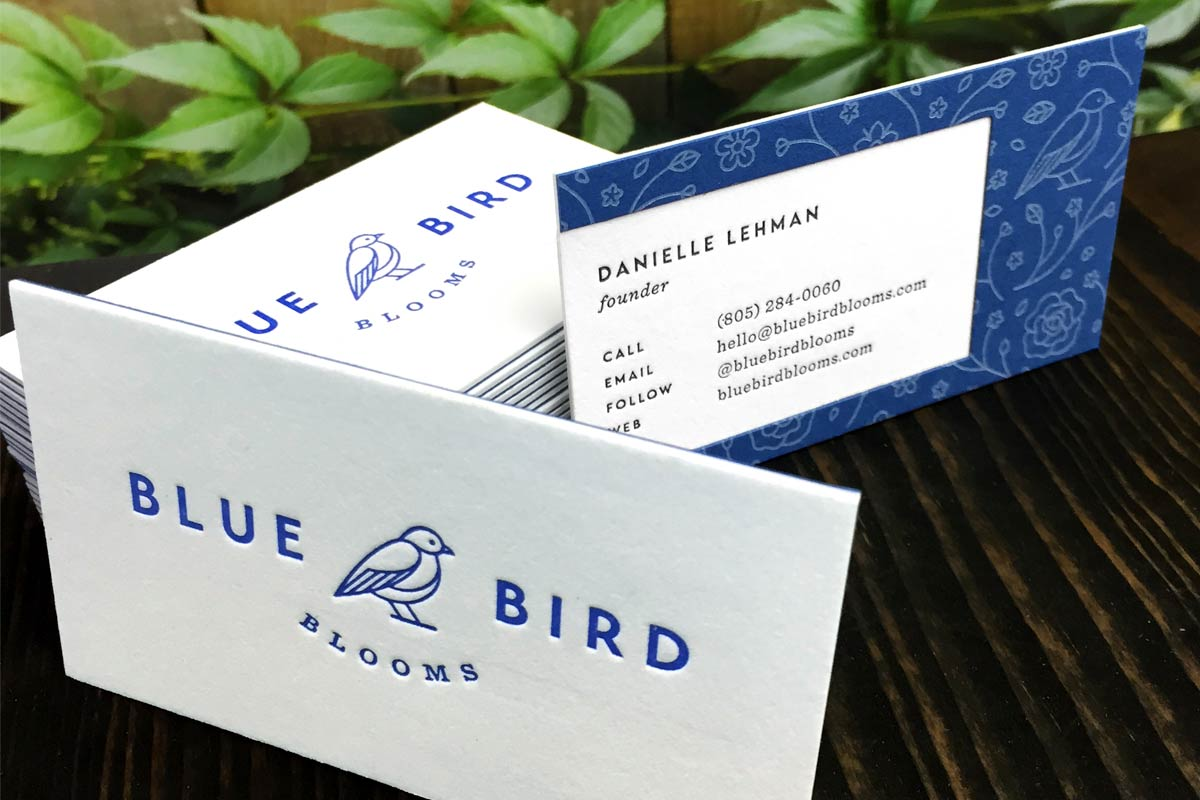 Business cards flyers hang tag printing more jukebox blue bird bloom business cards with letterpress reheart Choice Image