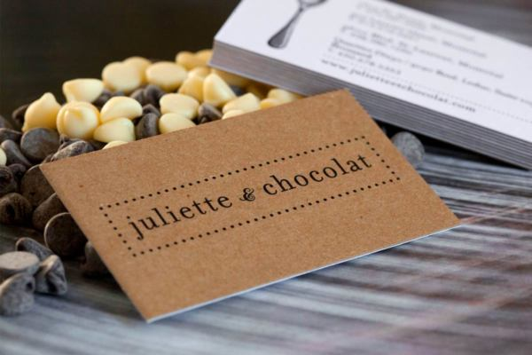 Kraft business cards jukebox print juliette chocolat brown kraft business cards with white backing reheart Gallery