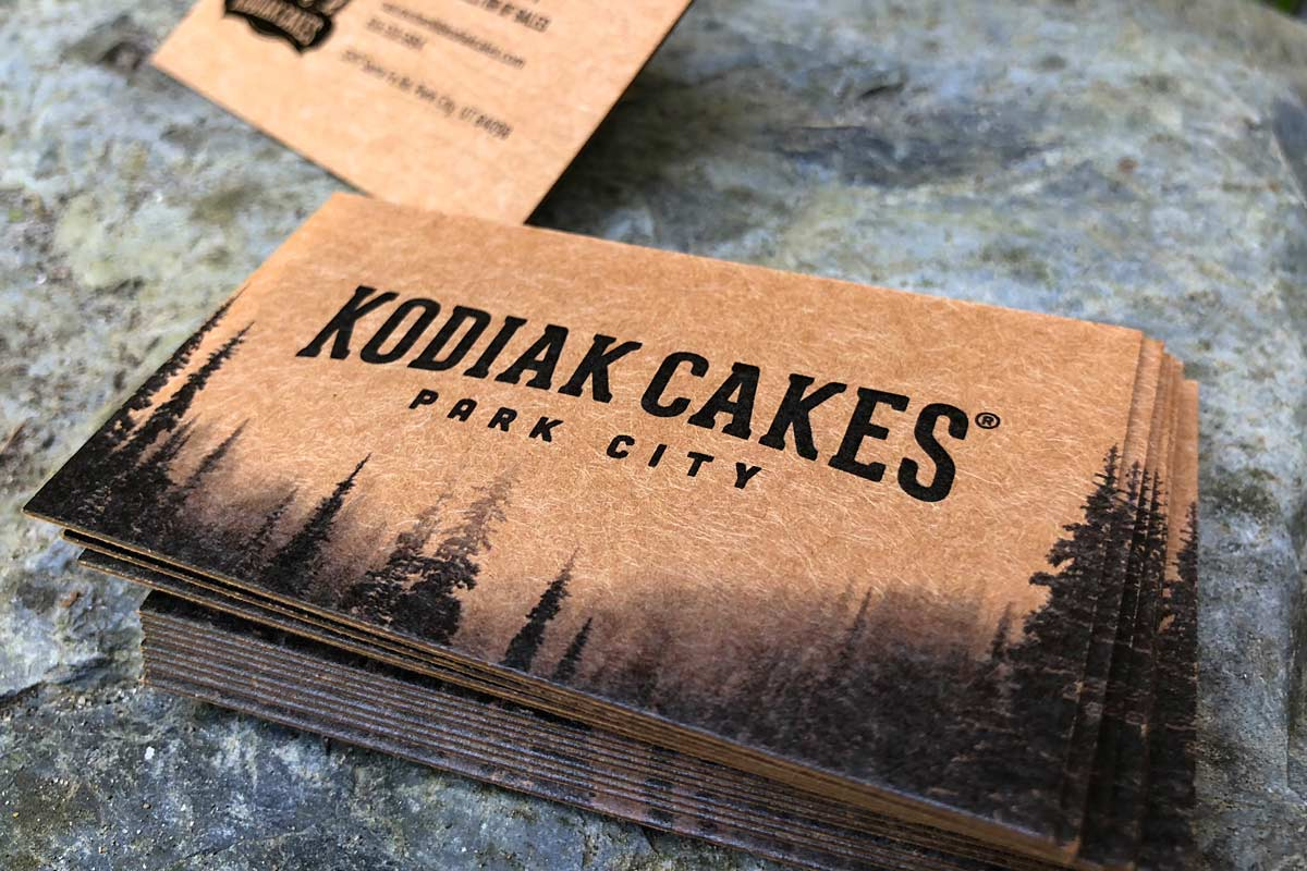 kodiac cakes thick 36pt brown kraft business cards - Kraft Business Cards