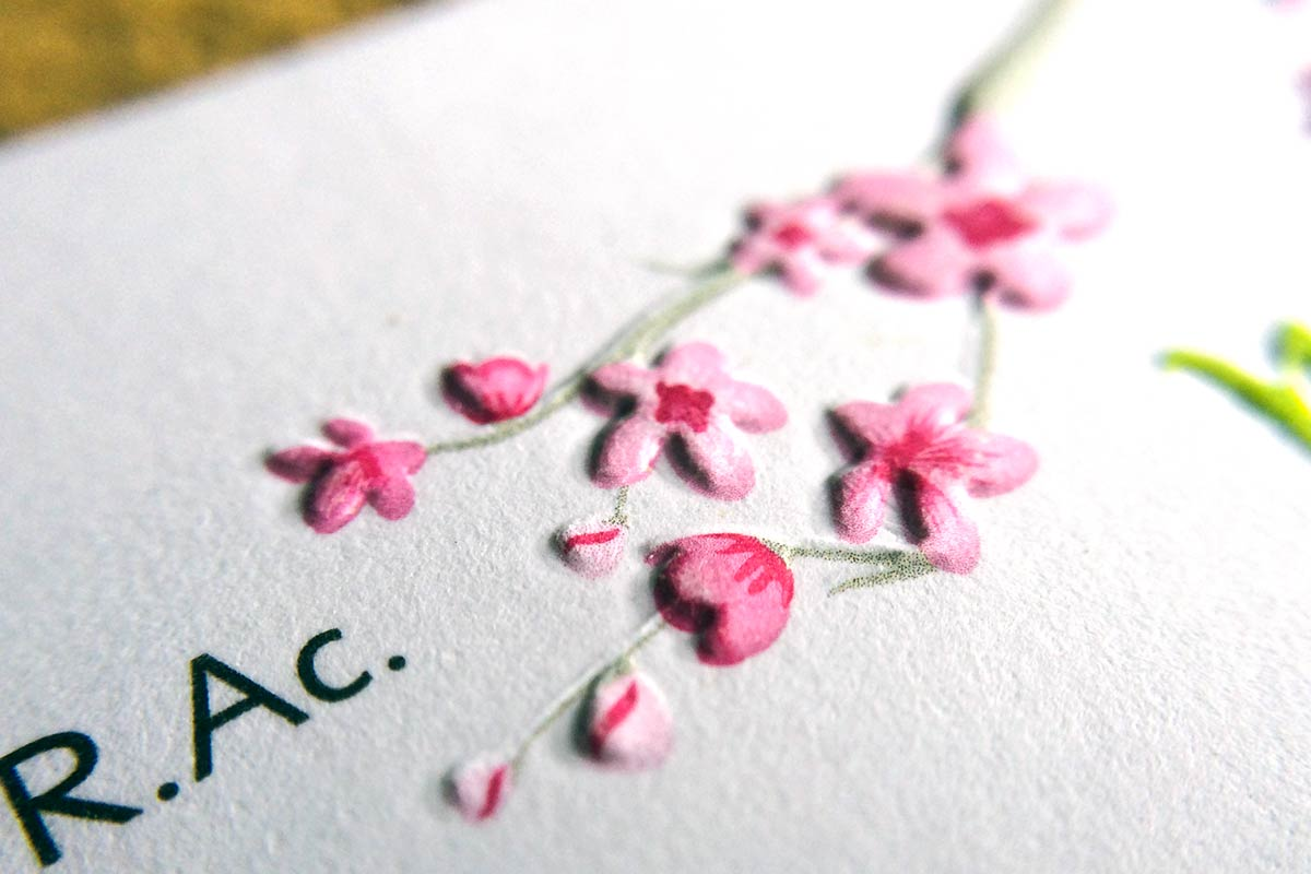 Embossing Business Card with floral design