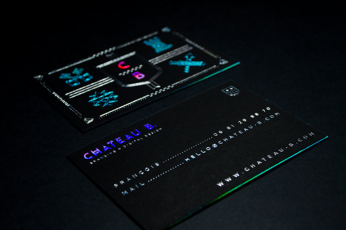 Black business cards black suede cards holographic foil business cards produced on black suede paper reheart Images