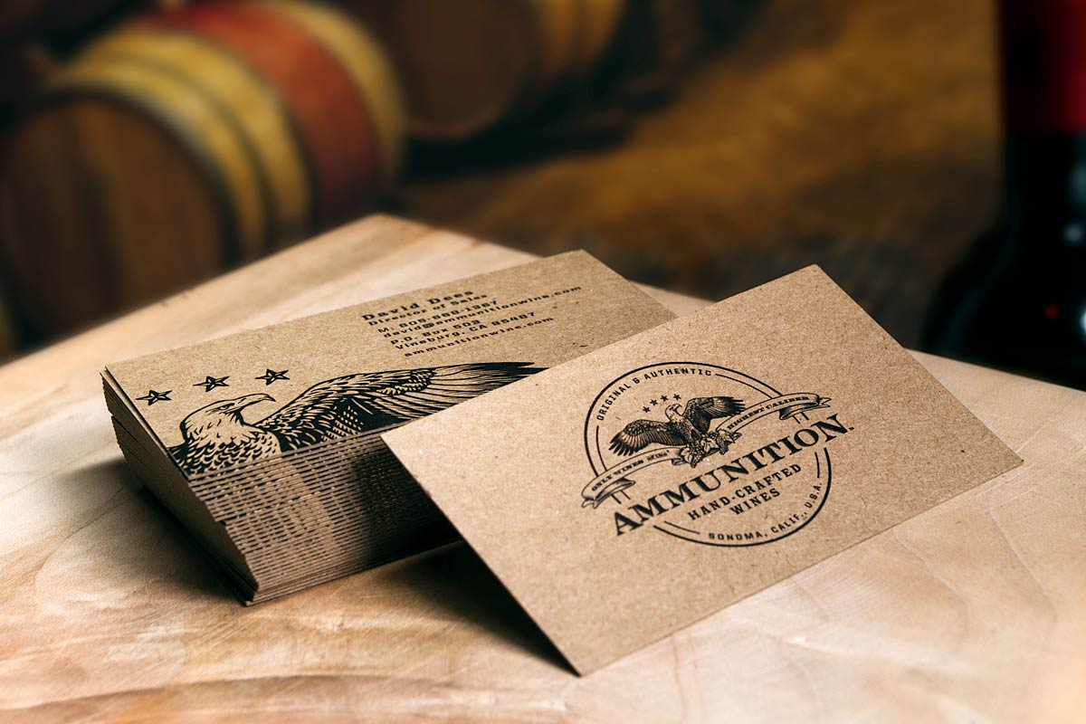 ammunition winery business cards produced on 18pt brown kraft - Kraft Paper Business Cards