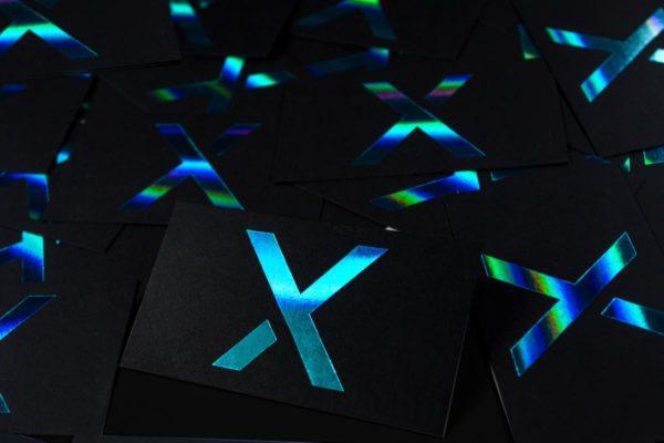 Black business cards black suede cards holographic blue foil business cards produced on jet black stock colourmoves