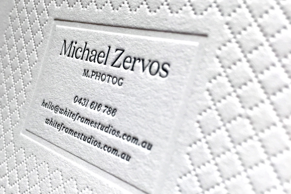 Cotton business cards jukebox print michael zervos letterpress business cards with blind debossed pattern reheart Images