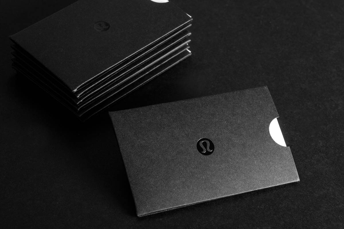 Jukebox business cards flyers hang tag printing more lululemon black giftcard holder with black foil colourmoves