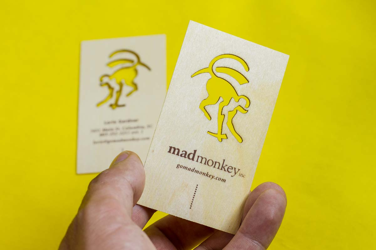 Wooden business cards jukebox print mad monkey wooden business cards with laser cut reheart Gallery