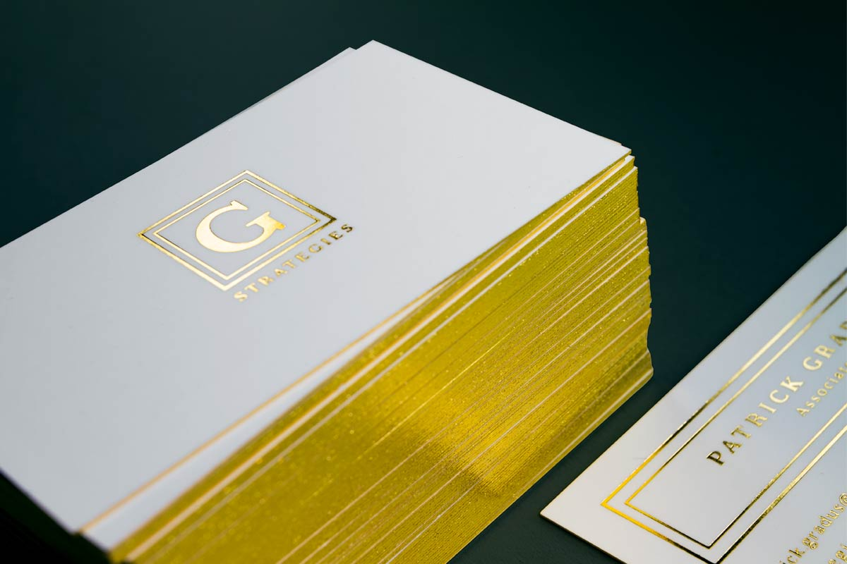 28pt mega thick business cards jukebox print g strategies business cards produced on 24pt silk with gold foil and gold edges colourmoves