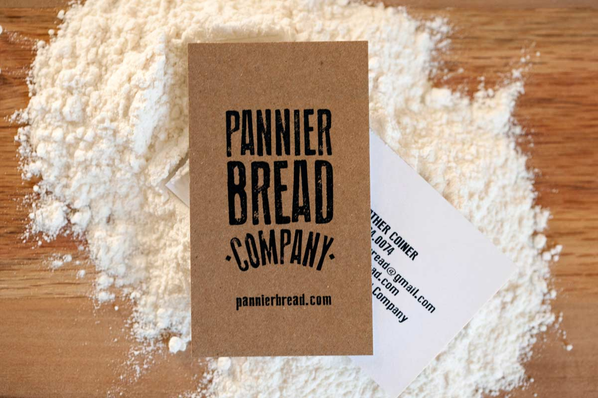 pannier bread duplex brown kraft business cards with white backing - Kraft Paper Business Cards
