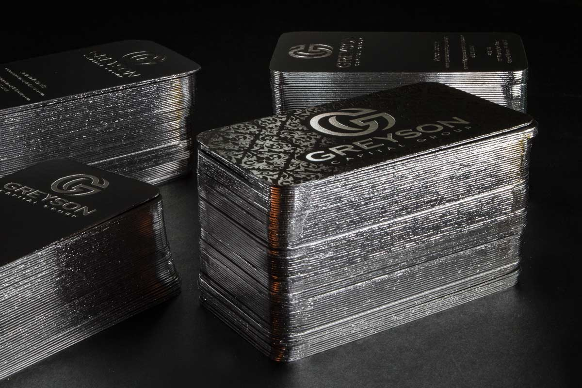 Duplex business cards thick rigid cards greson business cards with spot uv silver foil and file foil edges colourmoves