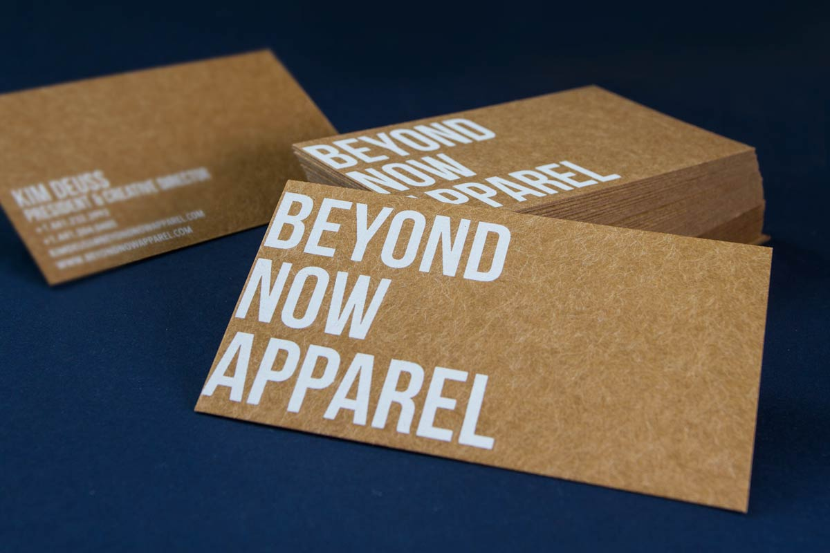 beyond now business cards produced on dark brown kraft and white silkscreen - Business Card Printing