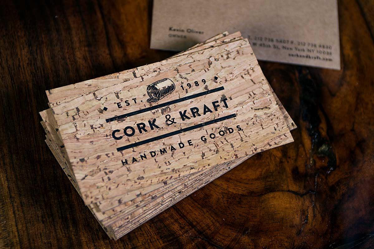 Cork business cards jukebox print cork business cards with brown kraft backing colourmoves