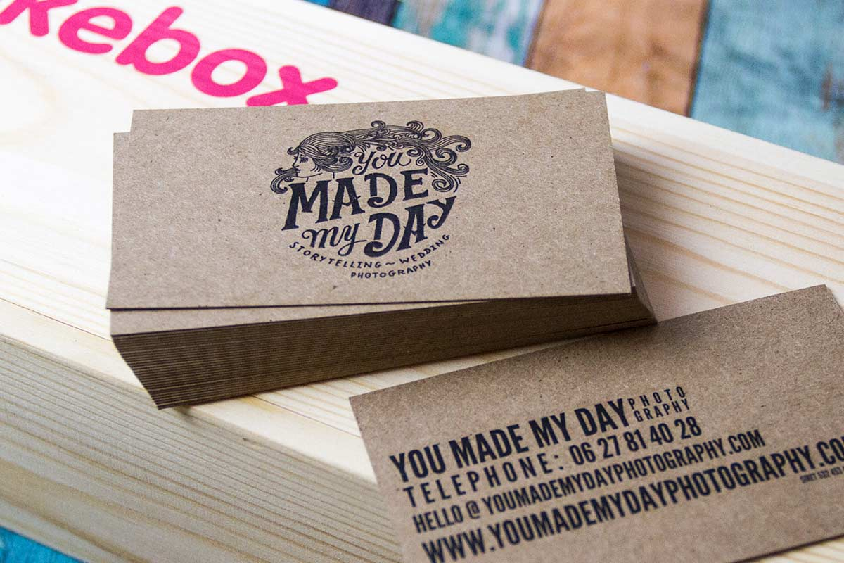 made my day business cards produced on 18pt brown kraft - Kraft Paper Business Cards