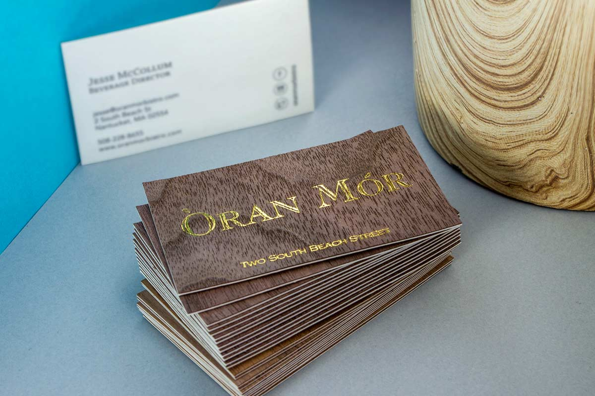 Wooden business cards jukebox print duplex wooden business cards produced with gold foil on walnut with white backing colourmoves