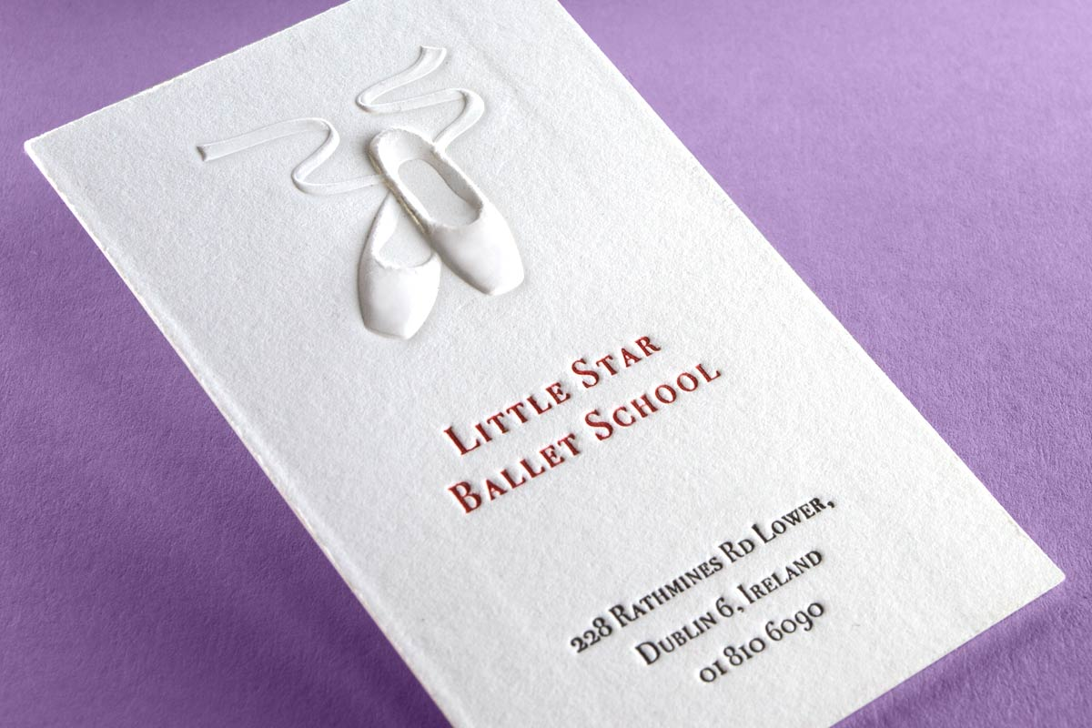 Letterpress business cards with embossing and foil ballet business cards produced with 3d embossing and 2 color letterpress on 40pt cotton colourmoves