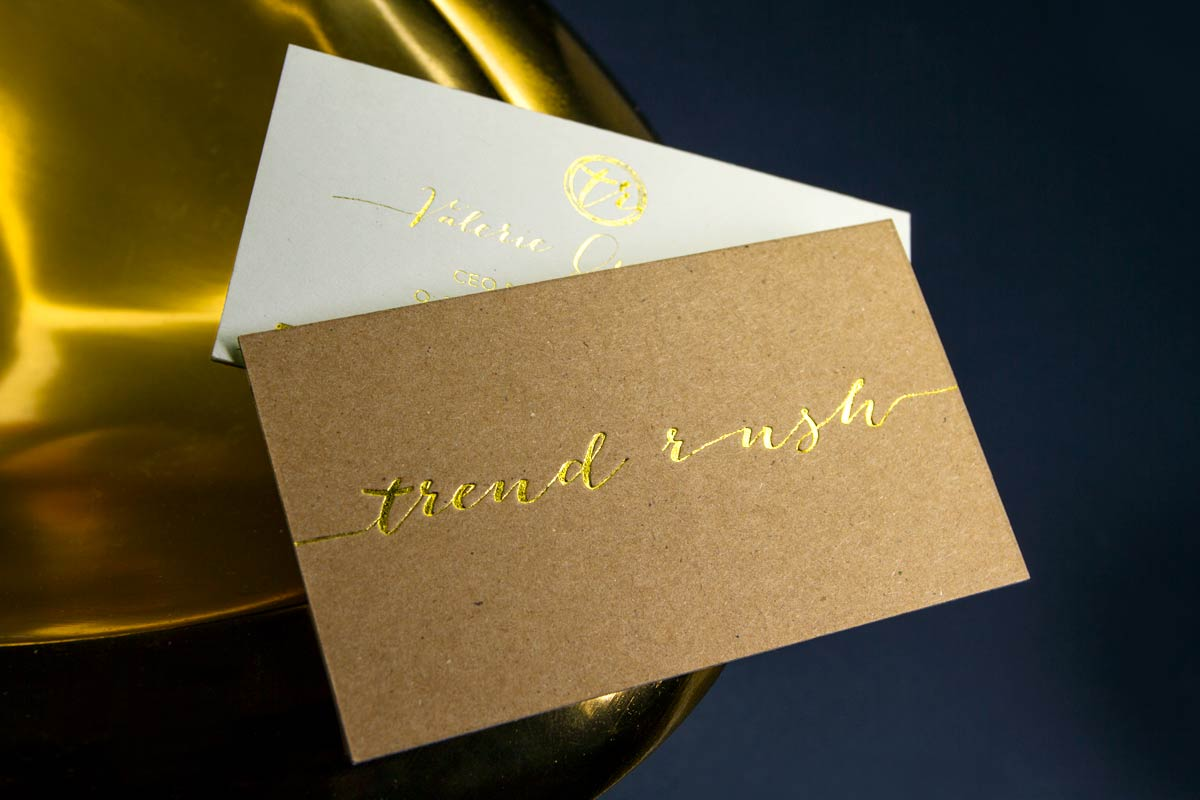 trend rush business cards produced on brown kraft with white backing and gold foil - Kraft Paper Business Cards