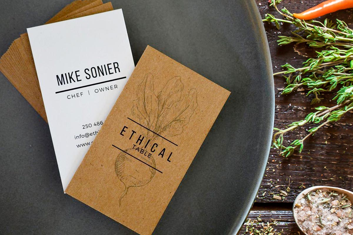 ethical table business cards produced with brown kraft and white recycled packing - Kraft Paper Business Cards