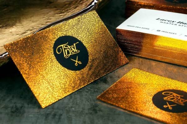 Foil business cards jukebox print tryst business cards produced on premium black 24pt suede with gold foil colourmoves