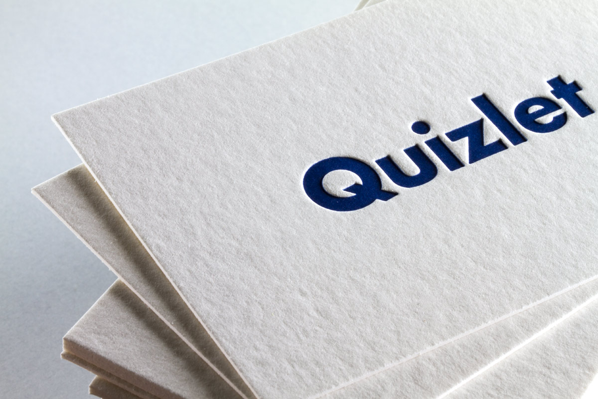 quizlet busines cards produced with letterpress on 36pt bamboo - Business Card Paper