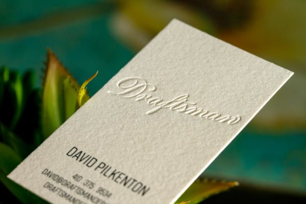 Blind Deboss On 40pt Cream Cotton Designed By David Pilkenton Wooden Business Cards With Embossing