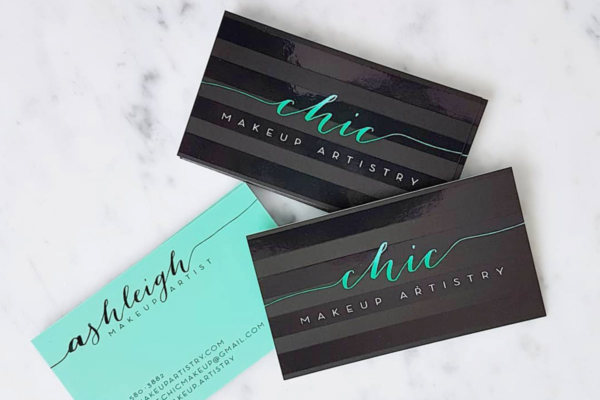 Chic Makeup Artistry Business Cards Produced With Spot UV