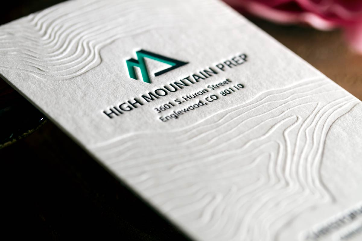 Letterpress business cards with embossing and foil high mountain prep business cards produced with 2 color letterpress deboss colourmoves