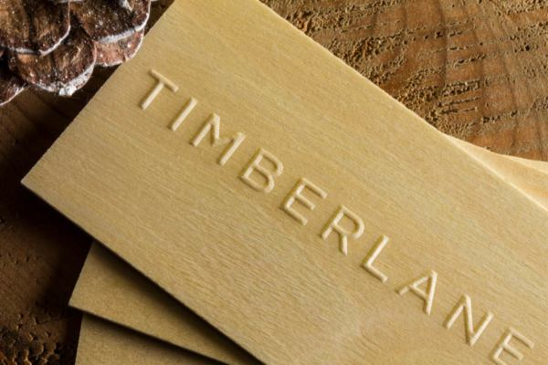 Wooden business cards jukebox print timberland business wooden business cards produced with embossing colourmoves