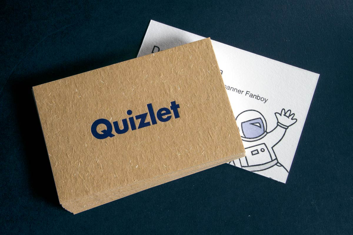 quizlet letterpress business cards produced on 20pt beige pulp with cotton backing - Business Card Paper
