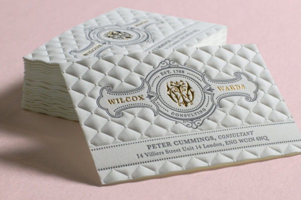 3d embossed business cards luxury business cards wilcox wards business cards produced with 3d embossing letterpress and gold foil printing colourmoves