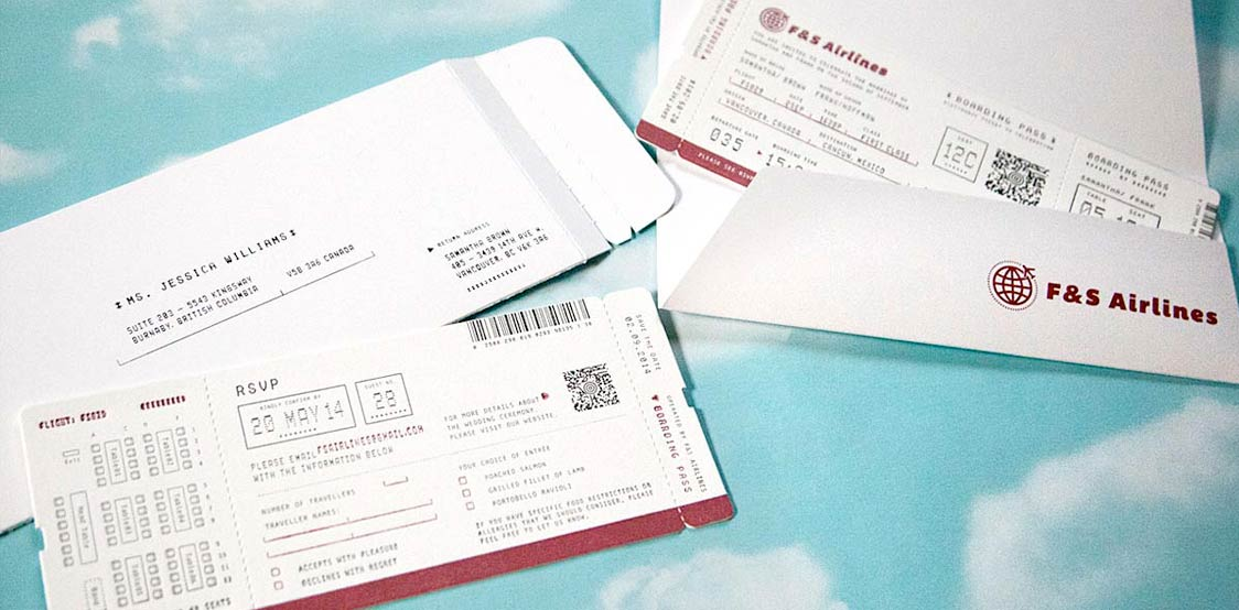 Airline ticket themed wedding invitation