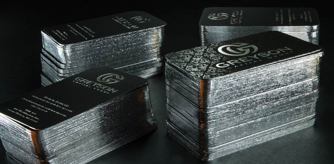 Black Business cards with silver foil edge finishing