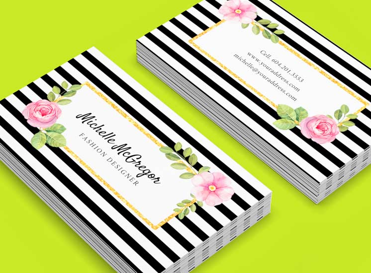 Black striped floral design business card template