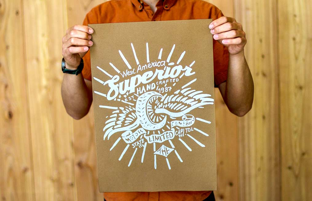 Brown kraft poster with white screen printing