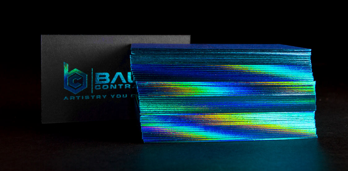 Black Business cards with holographic foil edge finishing