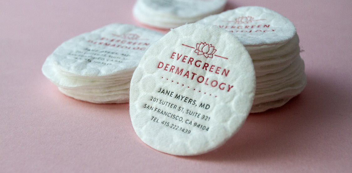 Creative business cards made with Cotton Pads