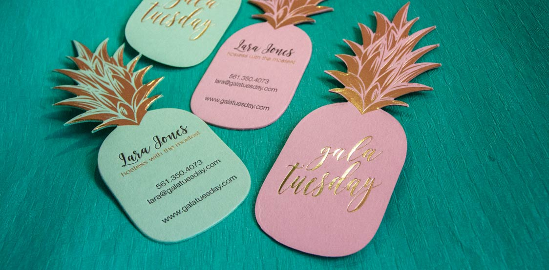 Creative business cards shaped in a pineapple