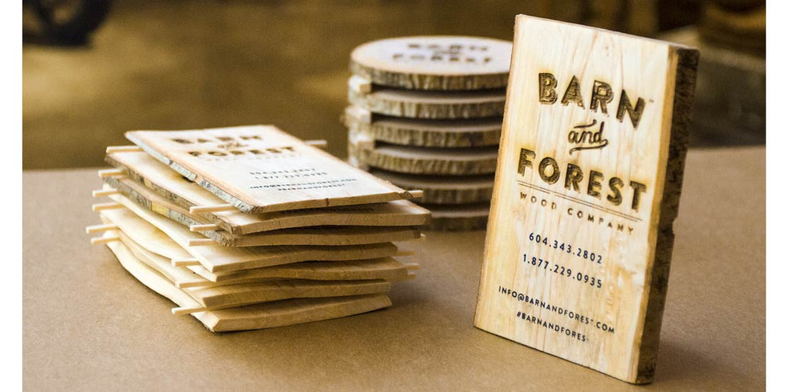 Creative business cards made from real wood