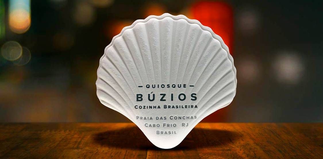 Creative business cards made in a shape of a sea shell