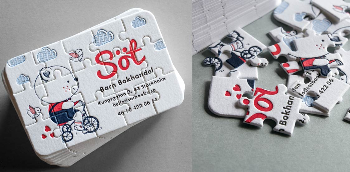 Creative business cards made into a puzzle