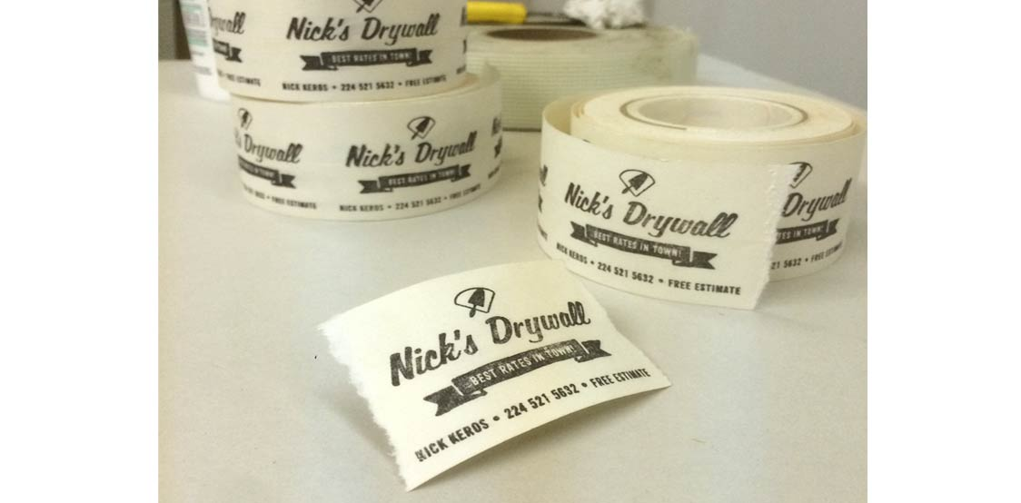 Creative business cards produced on drywall tape