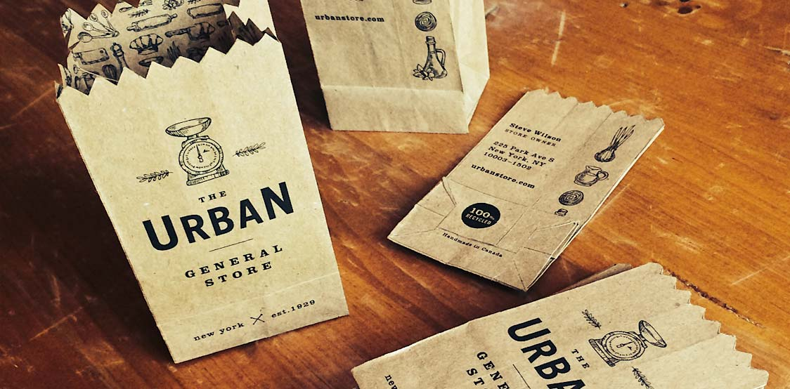 Creative business card shaped as paper bag