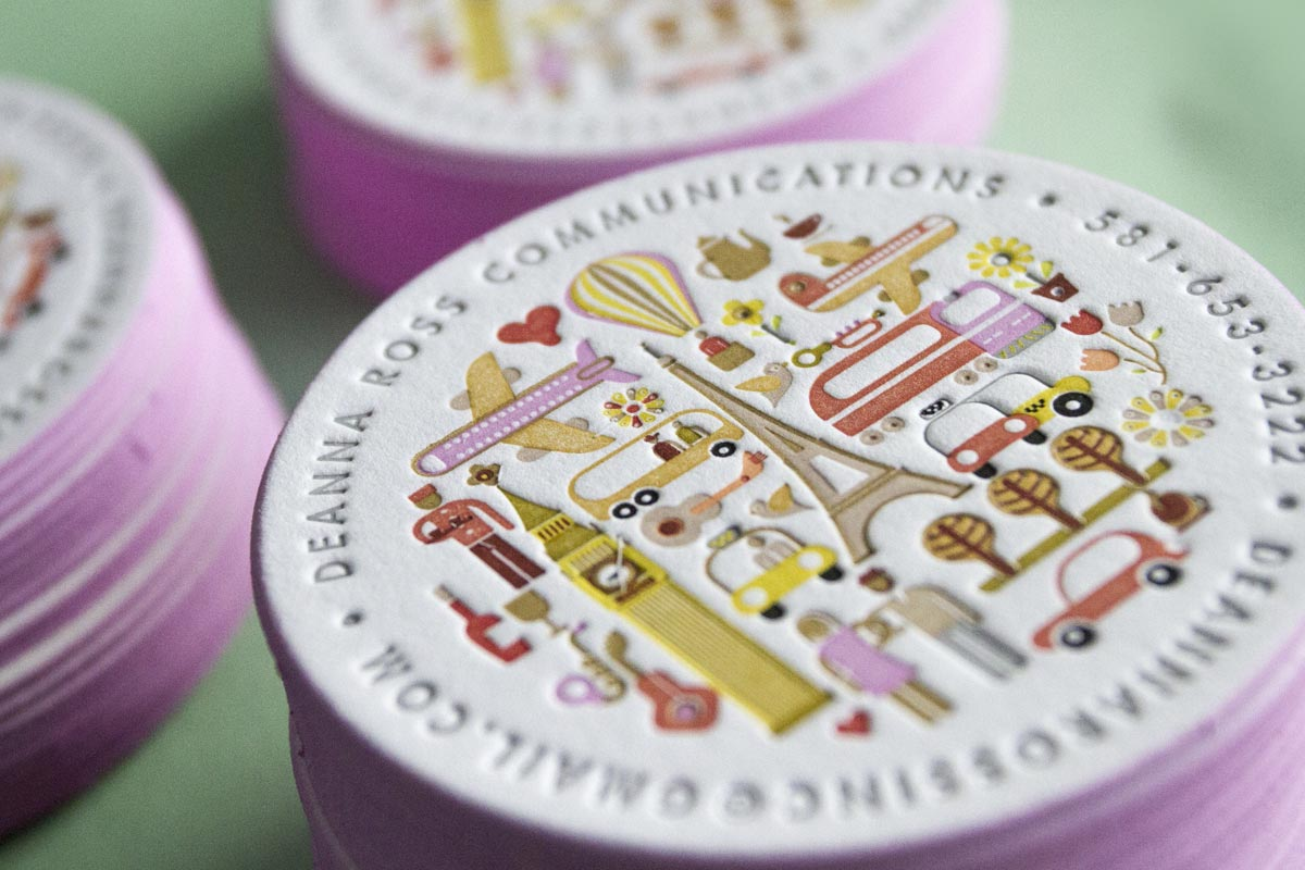 Deanna Ross's circular shaped, multi-colored Letterpress Business Cards