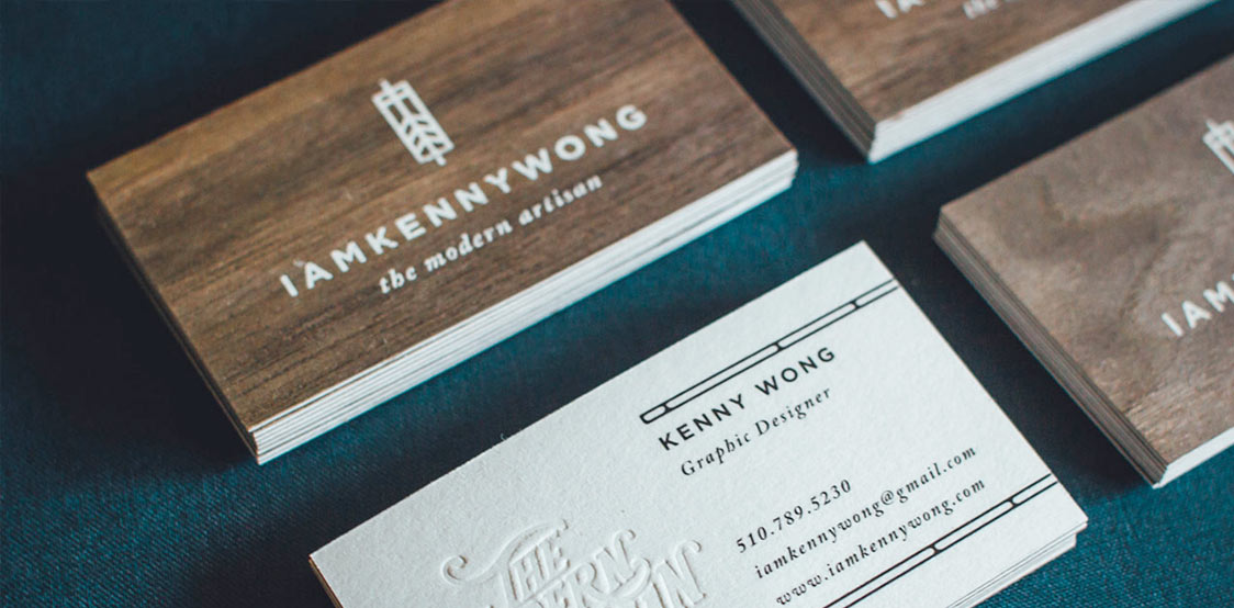 Duplex business cards with wood and white backing