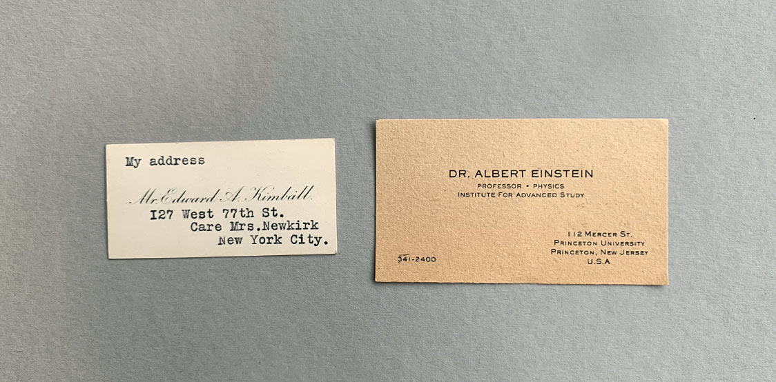 Kimball and Albert Einstein business cards
